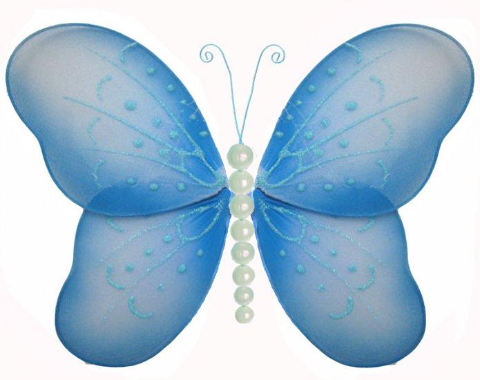 "5"""" Blue Pearl Butterfly - nylon hanging ceiling wall baby nursery room wedding decor decoration dec"