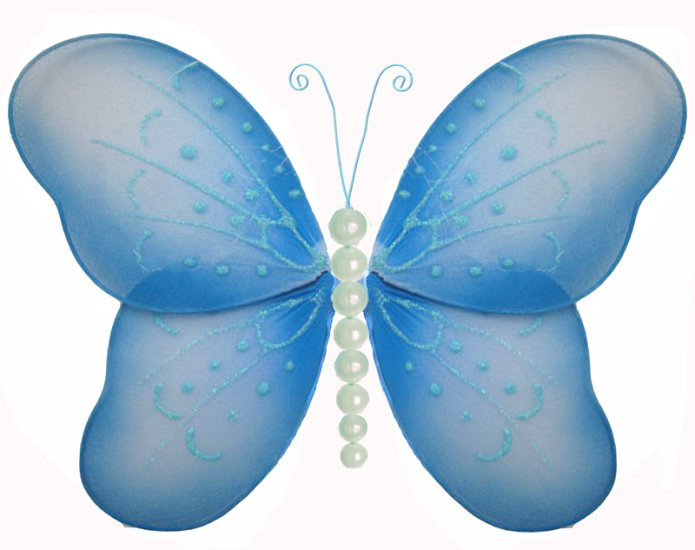 "10"""" Blue Pearl Butterfly - nylon hanging ceiling wall baby nursery room wedding decor decoration de"