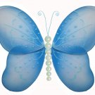 "10"""" Blue Pearl Butterfly - nylon hanging ceiling wall baby nursery room wedding decor decoration de"