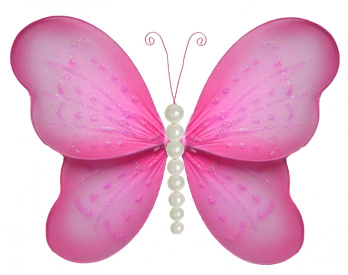 "5"""" Dark Pink (Fuschia) Pearl Butterfly - nylon hanging ceiling wall baby nursery room wedding decor"
