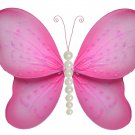 "10"""" Dark Pink (Fuschia) Pearl Butterfly - nylon hanging ceiling wall baby nursery room wedding deco"