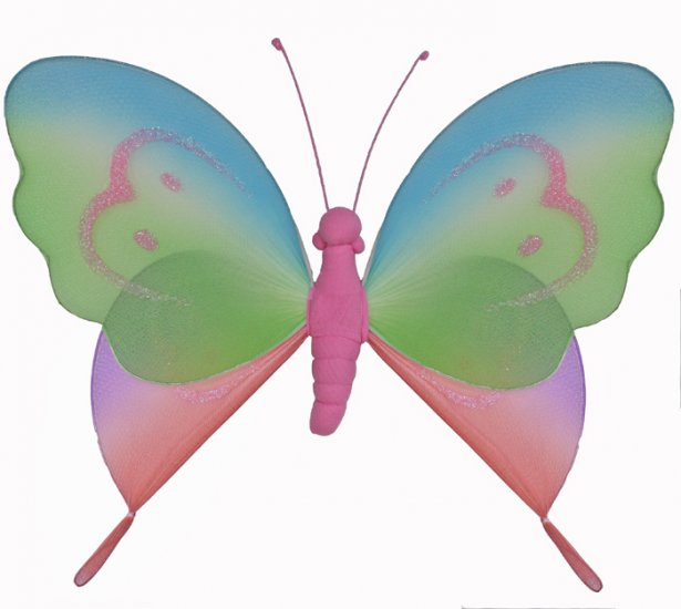 """5"""""""" Pink Rainbow Butterfly - nylon hanging ceiling wall baby nursery room wedding decor decoration d"""