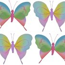 "5"""" Lot Rainbow Pink Purple Butterflies 4 piece Set butterfly (Pink & Rainbow, Purple & Rainbow) - n"