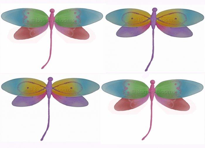 """10"""""""" Lot Rainbow Pink Purple Dragonflies 4 piece Set dragonfly (Pink & Rainbow, Purple & Rainbow) -"""