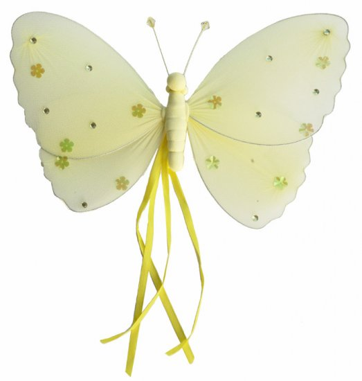 "5"""" Yellow Ribbons Butterfly - nylon hanging ceiling wall baby nursery room wedding decor decoration"
