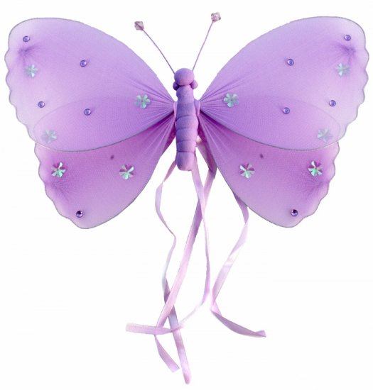 "10"""" Purple Ribbons Butterfly - nylon hanging ceiling wall baby nursery room wedding decor decoratio"