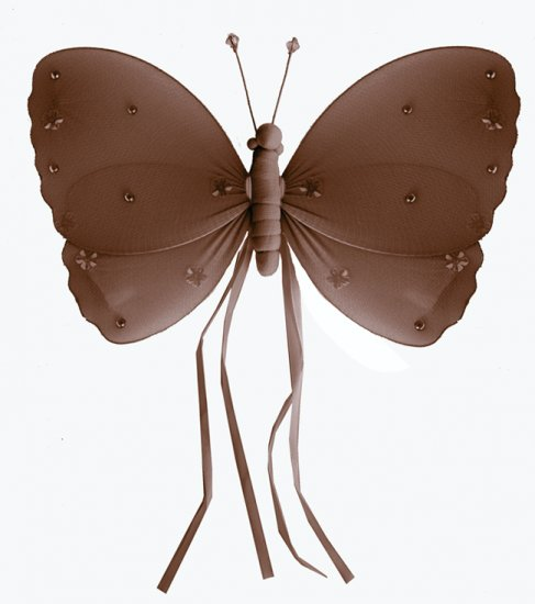 """10"""""""" Brown Ribbons Butterfly - nylon hanging ceiling wall baby nursery room wedding decor decoration"""