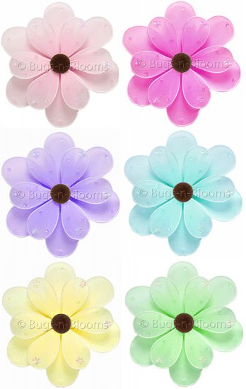 """6"""""""" Lot Sequined Daisy Flowers 6 piece Set daisies flower (Pink, Purple, Yellow, Blue, Green and Dar"""