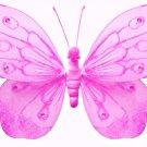 "5"""" Dark Pink (Fuschia) Shimmer Butterfly - nylon hanging ceiling wall baby nursery room wedding dec"