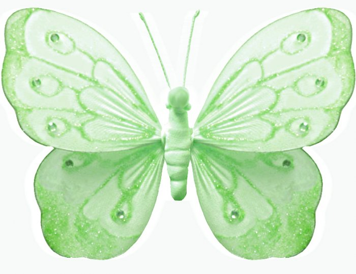 """5"""""""" Green Shimmer Butterfly - nylon hanging ceiling wall baby nursery room wedding decor decoration"""