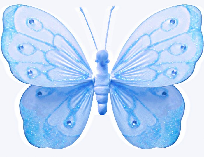 """10"""""""" Blue Shimmer Butterfly - nylon hanging ceiling wall baby nursery room wedding decor decoration"""