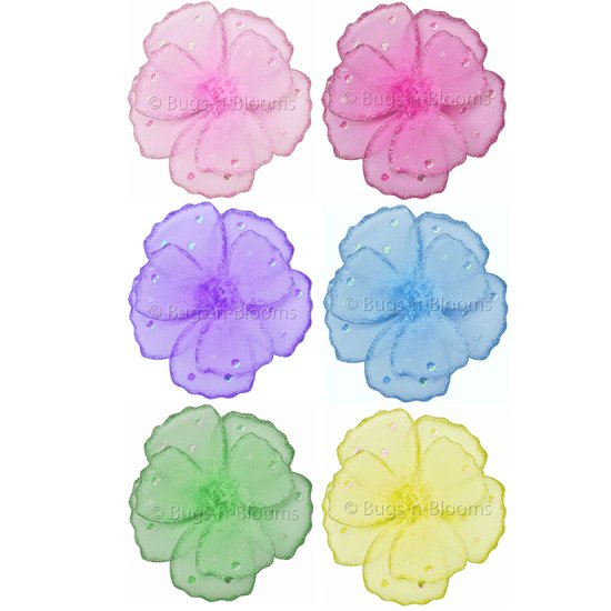 "8"""" Lot Shimmer Daisy Flowers 6 piece Set daisies flower (Pink, Purple, Yellow, Blue, Green and Dark"