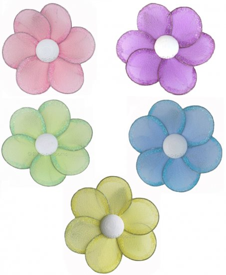 "8"""" Lot Single Layer Daisy Flowers 5 piece Set daisies flower (Pink, Purple, Yellow, Blue, Green) -"
