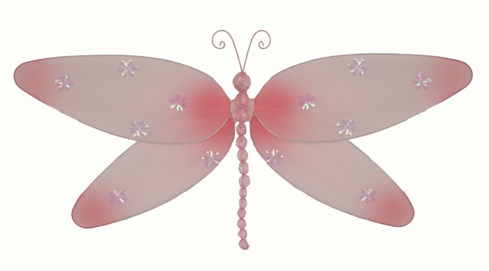 "10"""" Pink Sparkle Dragonfly - nylon hanging ceiling wall baby nursery room wedding decor decoration"