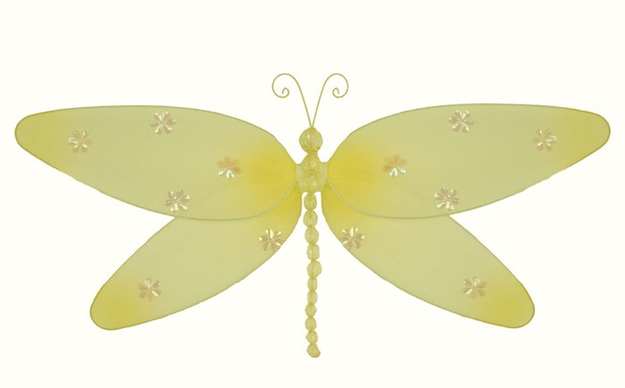 "7"""" Yellow Sparkle Dragonfly - nylon hanging ceiling wall baby nursery room wedding decor decoration"