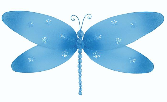 "7"""" Blue Sparkle Dragonfly - nylon hanging ceiling wall baby nursery room wedding decor decoration d"