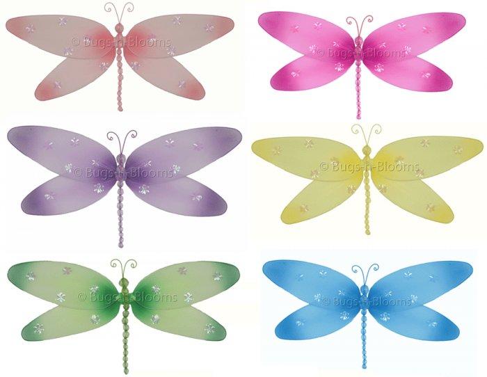 "7"""" Lot Sparkle Dragonflies 6 piece Set dragonfly (Pink, Dark Pink (Fuschia), Purple, Yellow, Blue,"