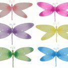 "7"""" Lot Sparkle Dragonflies 6 piece Set dragonfly (Pink, Dark Pink (Fuschia), Purple, Yellow, Blue,"