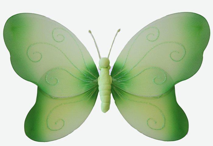 "13"""" Green Swirl Glitter Butterfly - nylon hanging ceiling wall baby nursery room wedding decor deco"