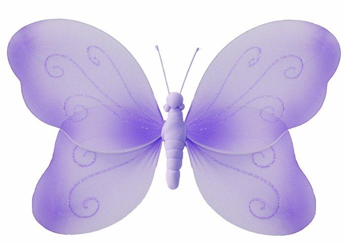 "7"""" Purple Swirl Glitter Butterfly - nylon hanging ceiling wall baby nursery room wedding decor deco"