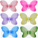 "7"""" Lot Swirl Glitter Butterflies 6 piece Set butterfly (Pink, Dark Pink (Fuschia), Purple, Yellow,"