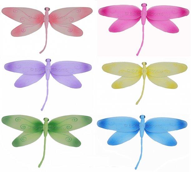 "10"""" Lot Swirl Dragonflies 6 piece Set dragonfly (Pink, Dark Pink (Fuschia), Purple, Yellow, Blue, G"
