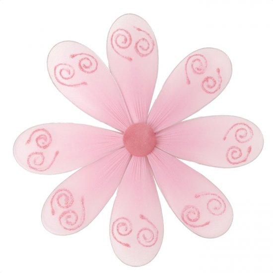 "6"""" Pink Swirl Glitter Daisy Flower - nylon hanging ceiling wall baby nursery room wedding decor dec"