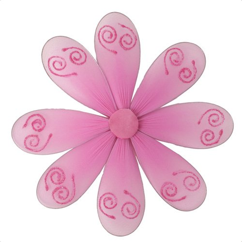 "6"""" Dark Pink (Fuschia) Swirl Glitter Daisy Flower - nylon hanging ceiling wall baby nursery room we"