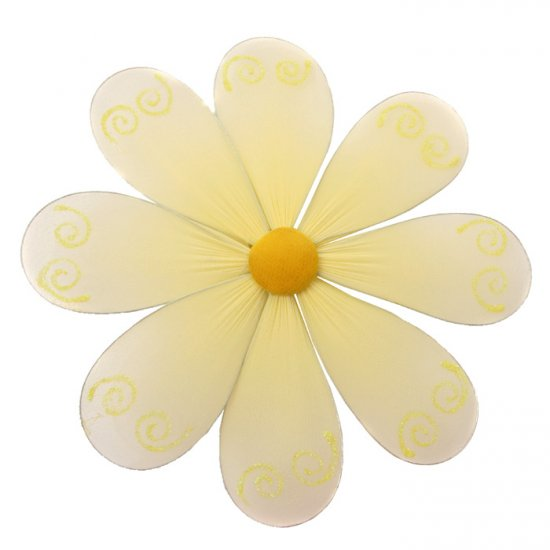 "6"""" Yellow Swirl Glitter Daisy Flower - nylon hanging ceiling wall baby nursery room wedding decor d"