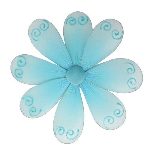 """6"""""""" Blue Swirl Glitter Daisy Flower - nylon hanging ceiling wall baby nursery room wedding decor dec"""