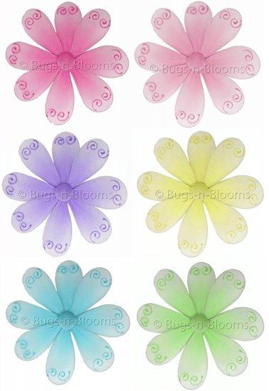 "6"""" Lot Swirl Glitter Daisy Flowers 6 piece Set Daisies Flower (Pink , Green, Purple, Blue, Yellow a"