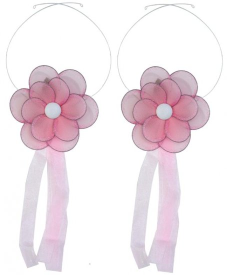 Pink Glitter Daisy Flower Curtain Tieback Pair / Set - holder tiebacks tie backs girls nursery room