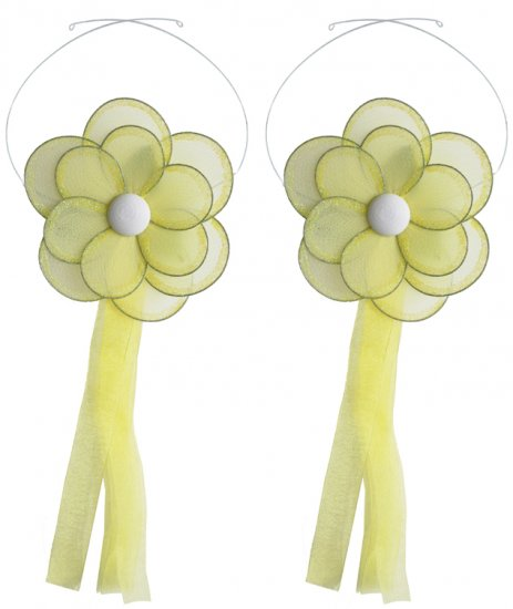 Yellow Glitter Daisy Flower Curtain Tieback Pair / Set - holder tiebacks tie backs girls nursery roo