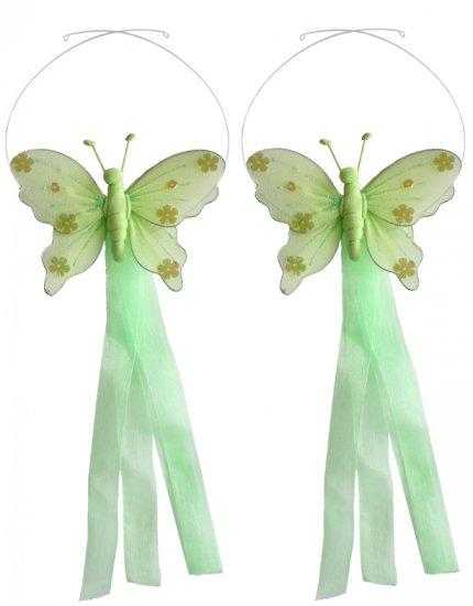 Green Jewel Butterfly Curtain Tieback Pair / Set - holder tiebacks tie backs girls nursery room deco