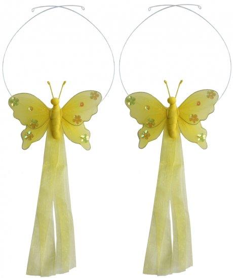 Yellow Jewel Butterfly Curtain Tieback Pair / Set - holder tiebacks tie backs girls nursery room dec