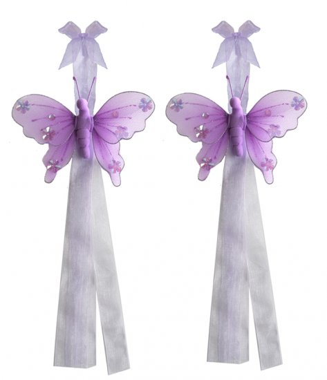 Purple Jewel Butterfly Curtain Tieback Pair / Set - holder tiebacks tie backs girls nursery room dec