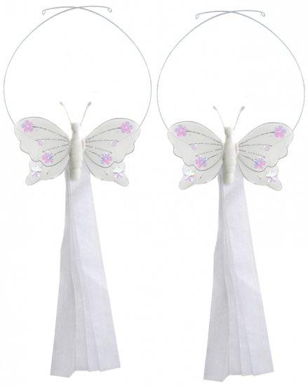 White Jewel Butterfly Curtain Tieback Pair / Set - holder tiebacks tie backs girls nursery room deco