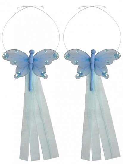 Blue Jewel Dragonfly Curtain Tieback Pair / Set - holder tiebacks tie backs girls nursery room decor