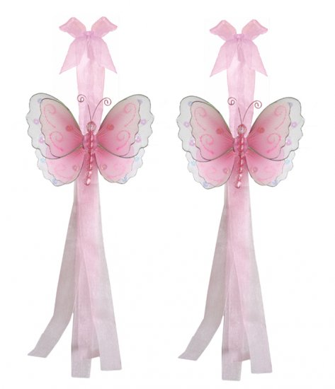 Pink Multi-Layered Butterfly Curtain Tieback Pair / Set - holder tiebacks tie backs girls nursery ro
