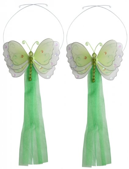 Green Multi-Layered Butterfly Curtain Tieback Pair / Set - holder tiebacks tie backs girls nursery r