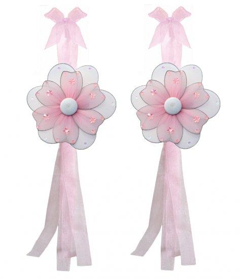 Pink Multi Layered Daisy Flower Curtain Tieback Pair / Set - holder tiebacks tie backs girls nursery