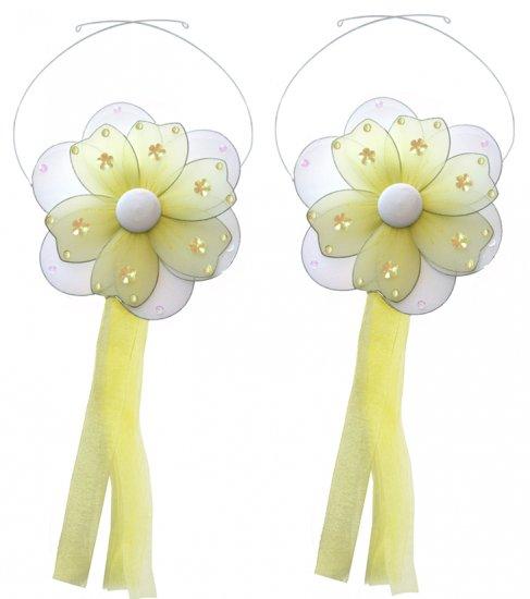Yellow Multi Layered Daisy Flower Curtain Tieback Pair / Set - holder tiebacks tie backs girls nurse