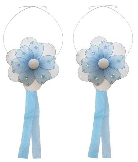 Blue Multi Layered Daisy Flower Curtain Tieback Pair / Set - holder tiebacks tie backs girls nursery
