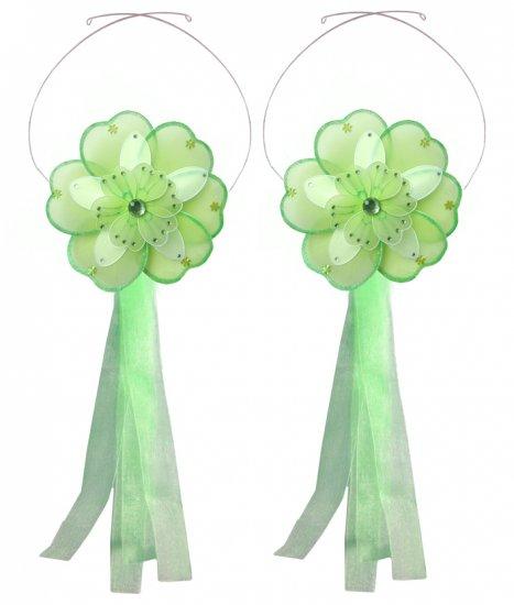 Green White Triple Layered Daisy Flower Curtain Tieback Pair / Set - holder tiebacks tie backs girls
