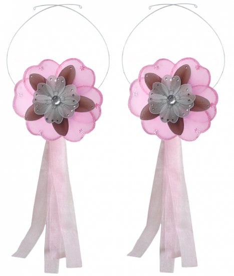 Pink Brown White Triple Layered Daisy Flower Curtain Tieback Pair / Set - holder tiebacks tie backs