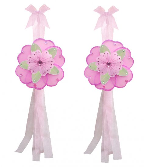 Dark Pink Green Pink Triple Layered Daisy Flower Curtain Tieback Pair / Set - holder tiebacks tie ba