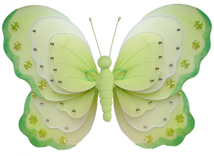 """13"""""""" Green & White Triple Layered Butterfly - nylon hanging ceiling wall baby nursery room wedding d"""