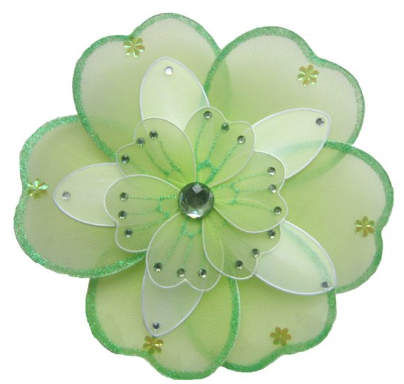 "6"""" Green & White Triple Layered Daisy Flower - nylon hanging ceiling wall baby nursery room wedding"