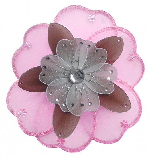 """6"""""""" Pink, Brown & White Triple Layered Daisy Flower nylon hanging ceiling wall baby nursery room dec"""