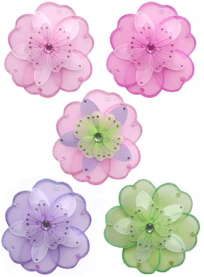 "6"" Triple Layered Flowers 5pc Set (Pink, Purple, Dk Pink, Green) decor decorations"